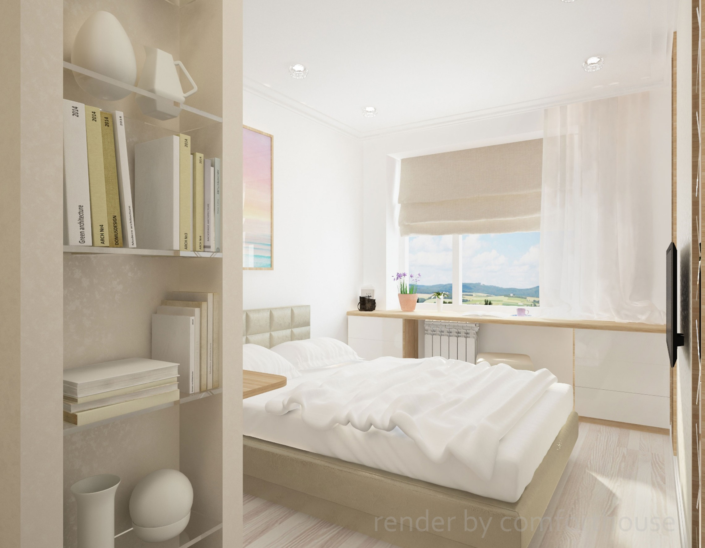 simple interior light bedroom