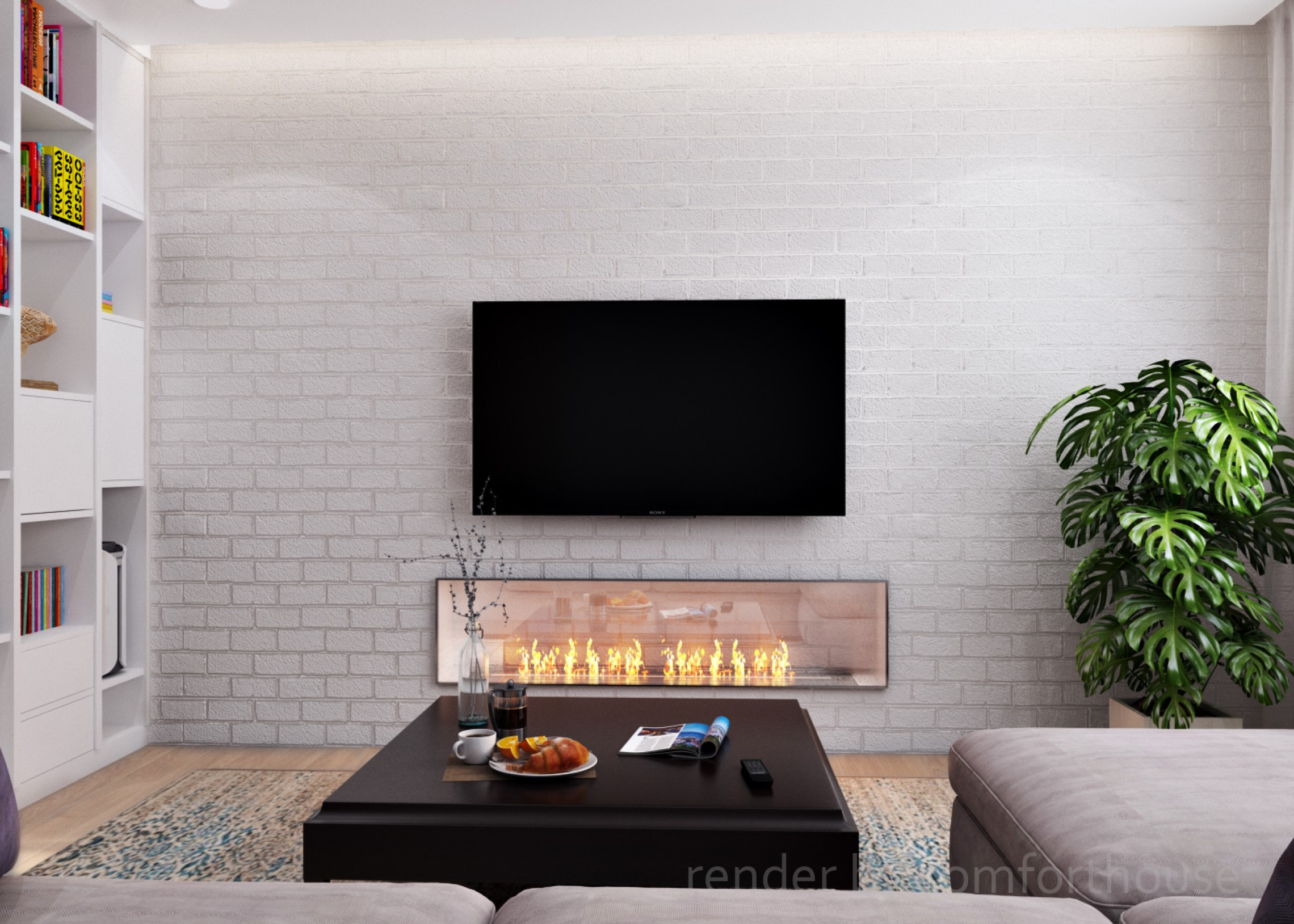 Modern light interior bio fireplace