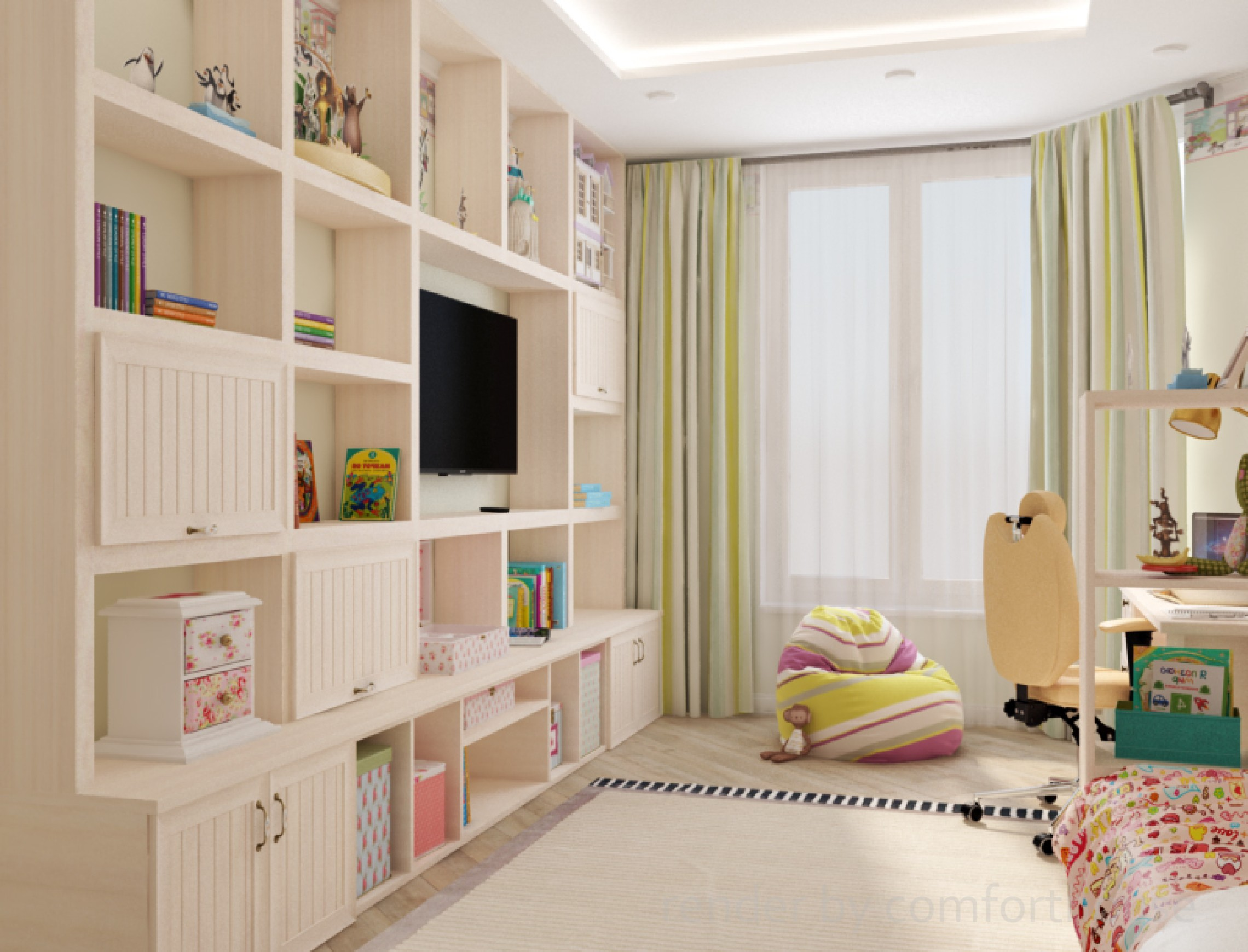 children's room in bright colors