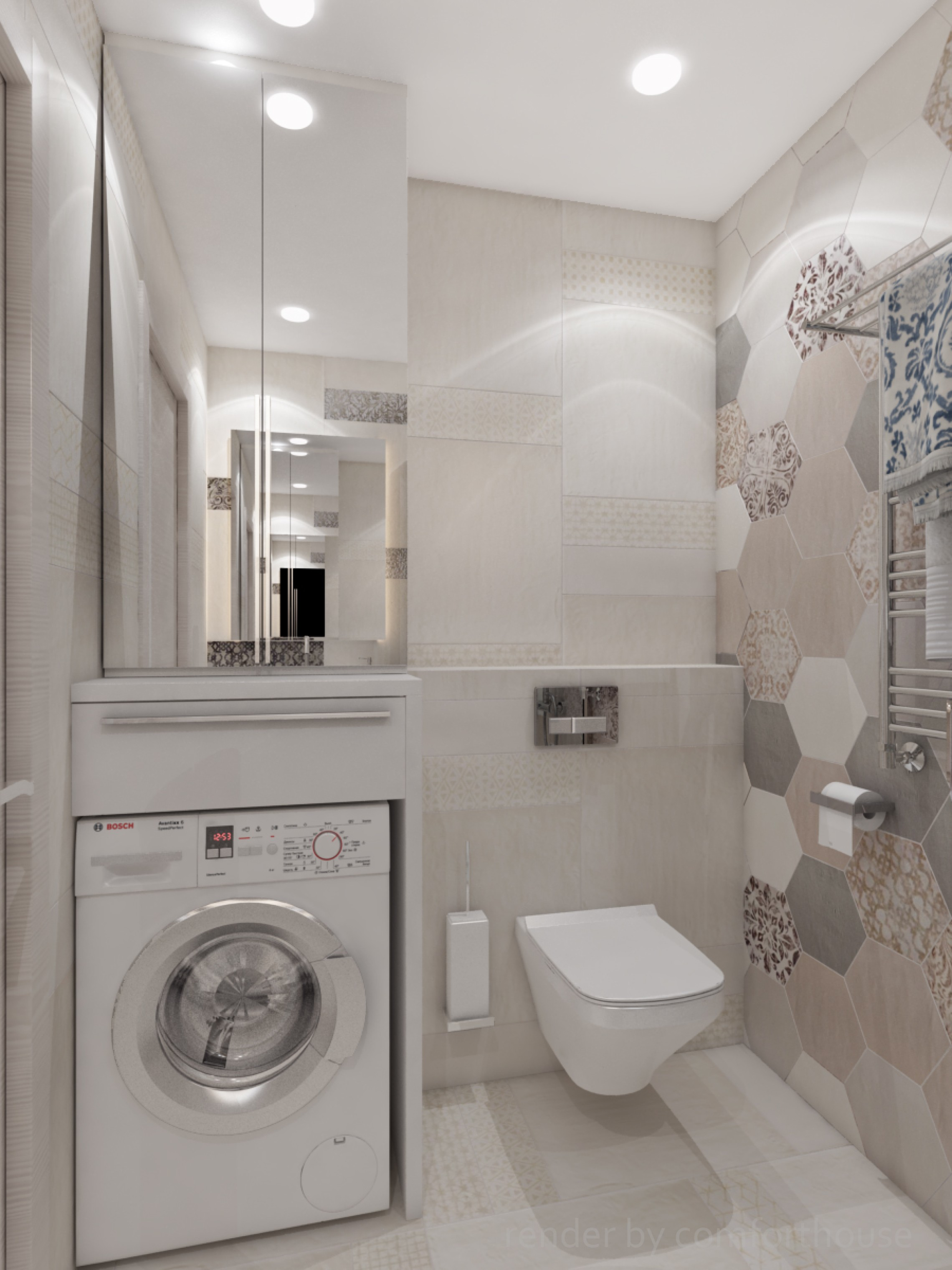interior bathroom patchwork