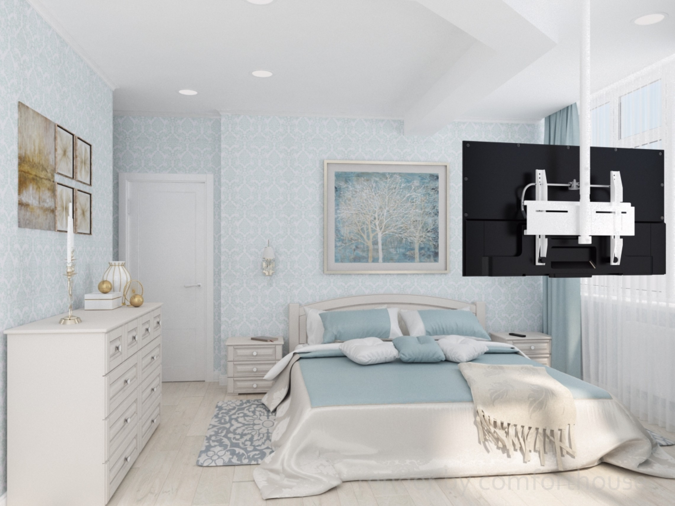 interior design blue bedroom