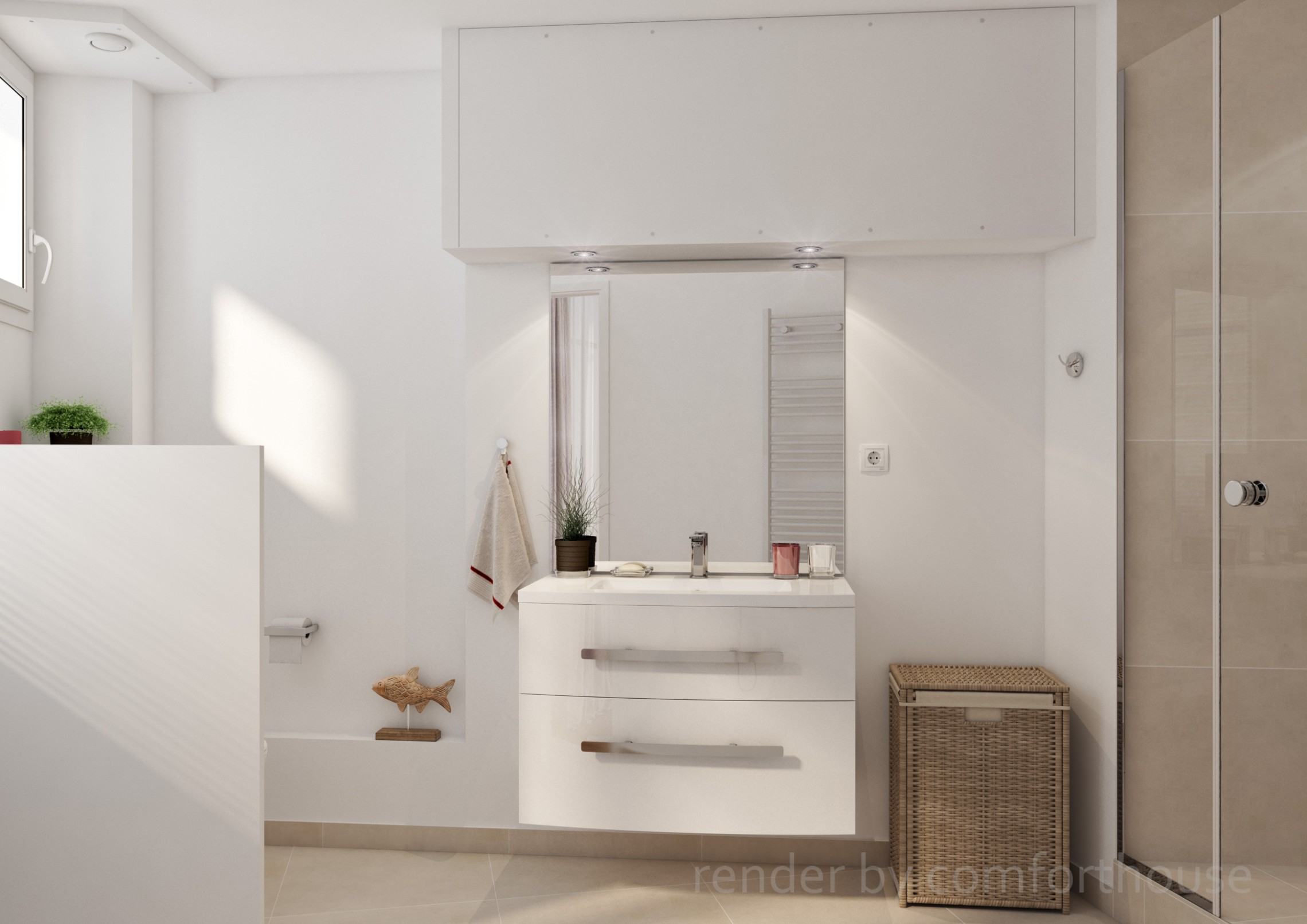 modern white interior bathroom