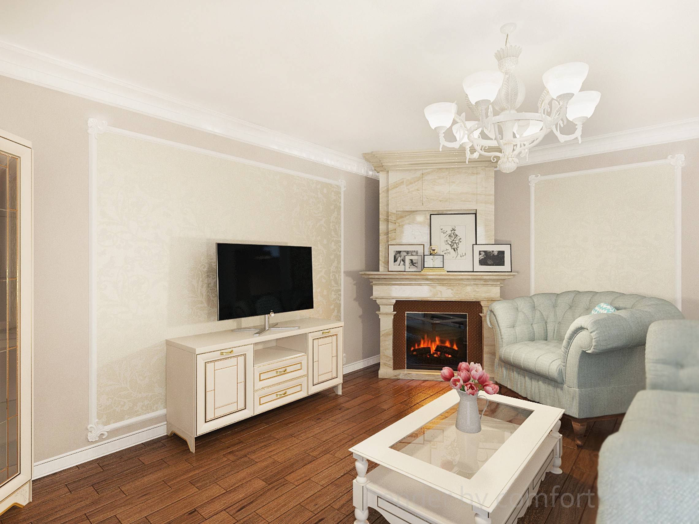 3d living room with fireplace