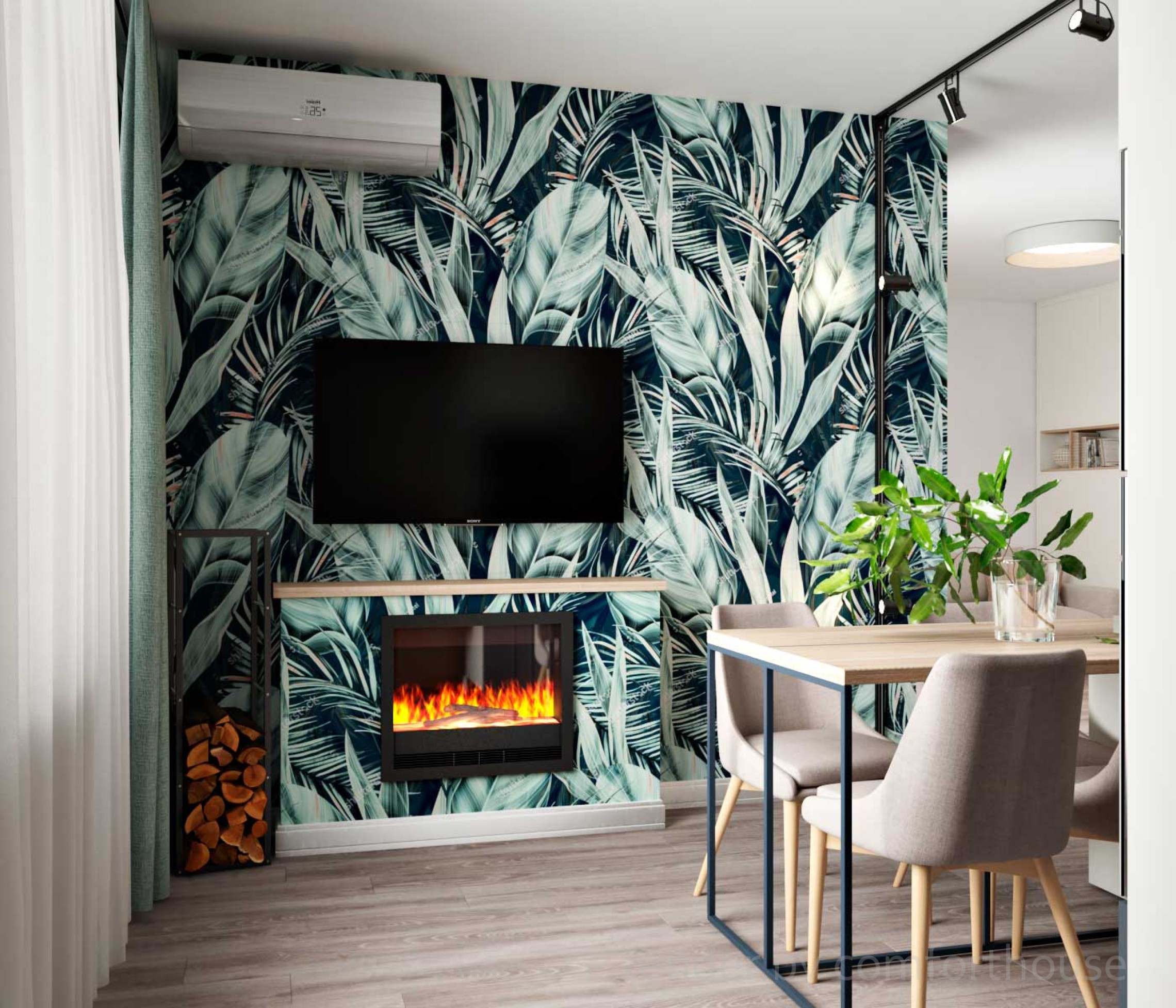 modern apartment tropical print