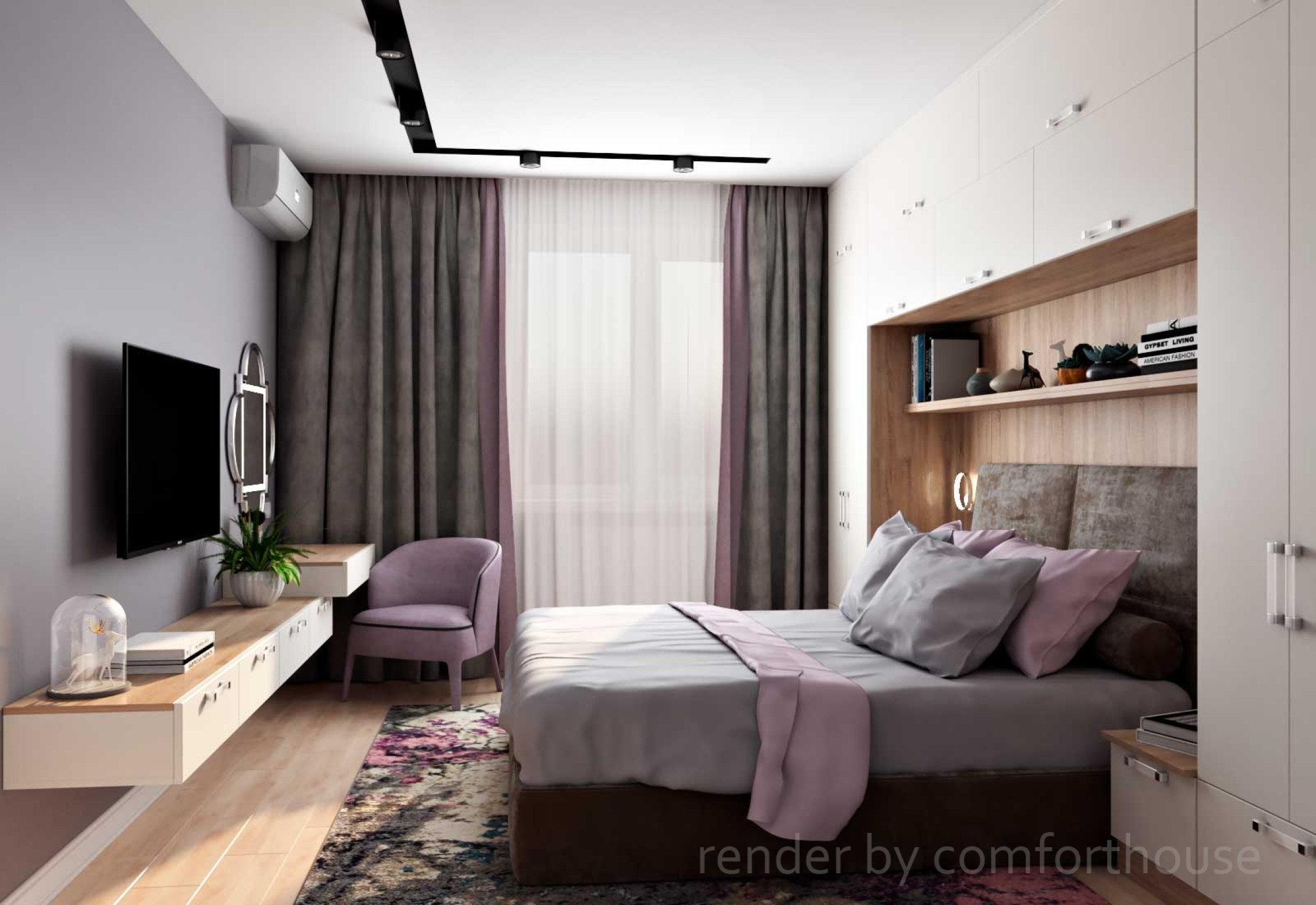 bright modern interior bedroom