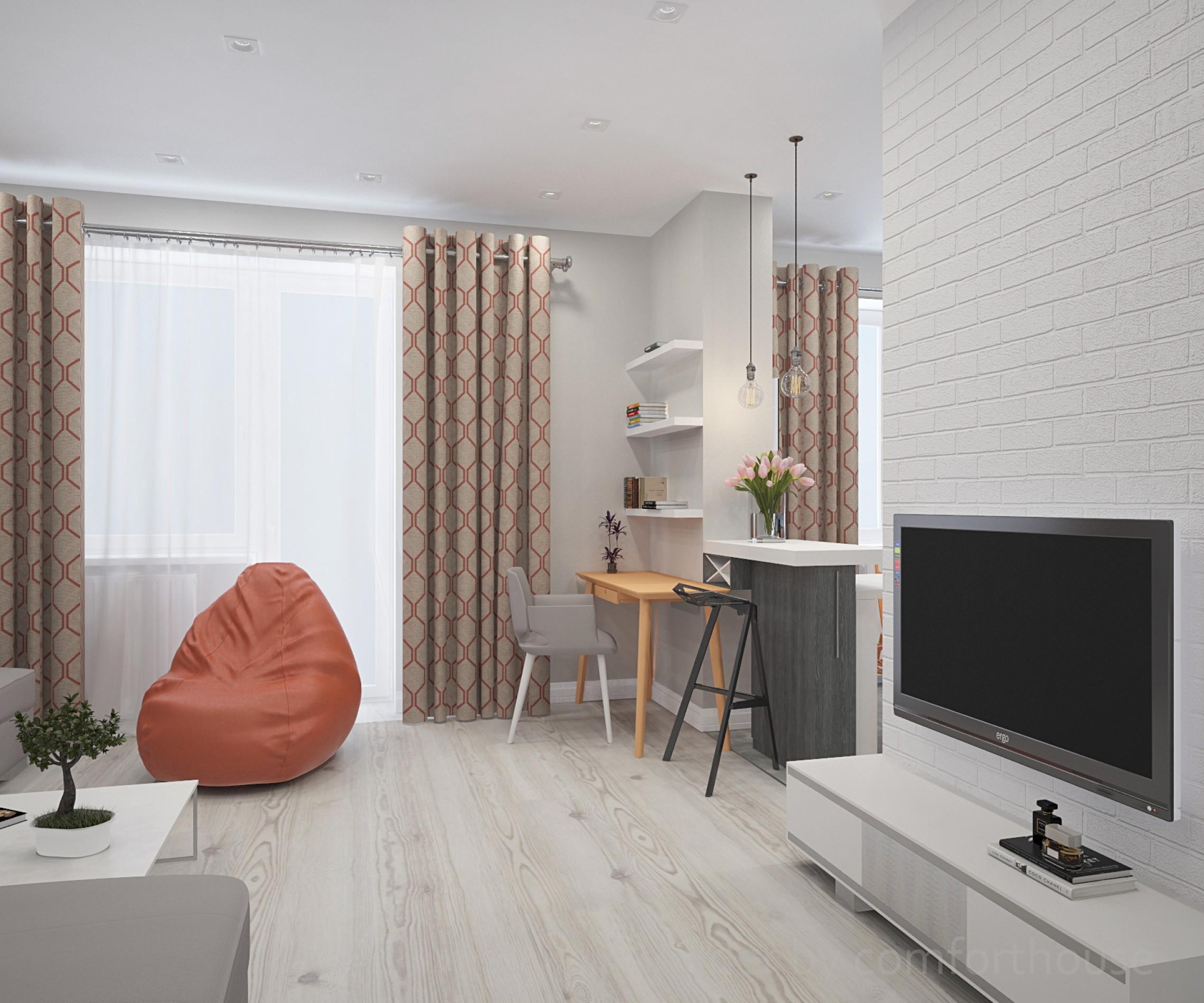 white and orange interior