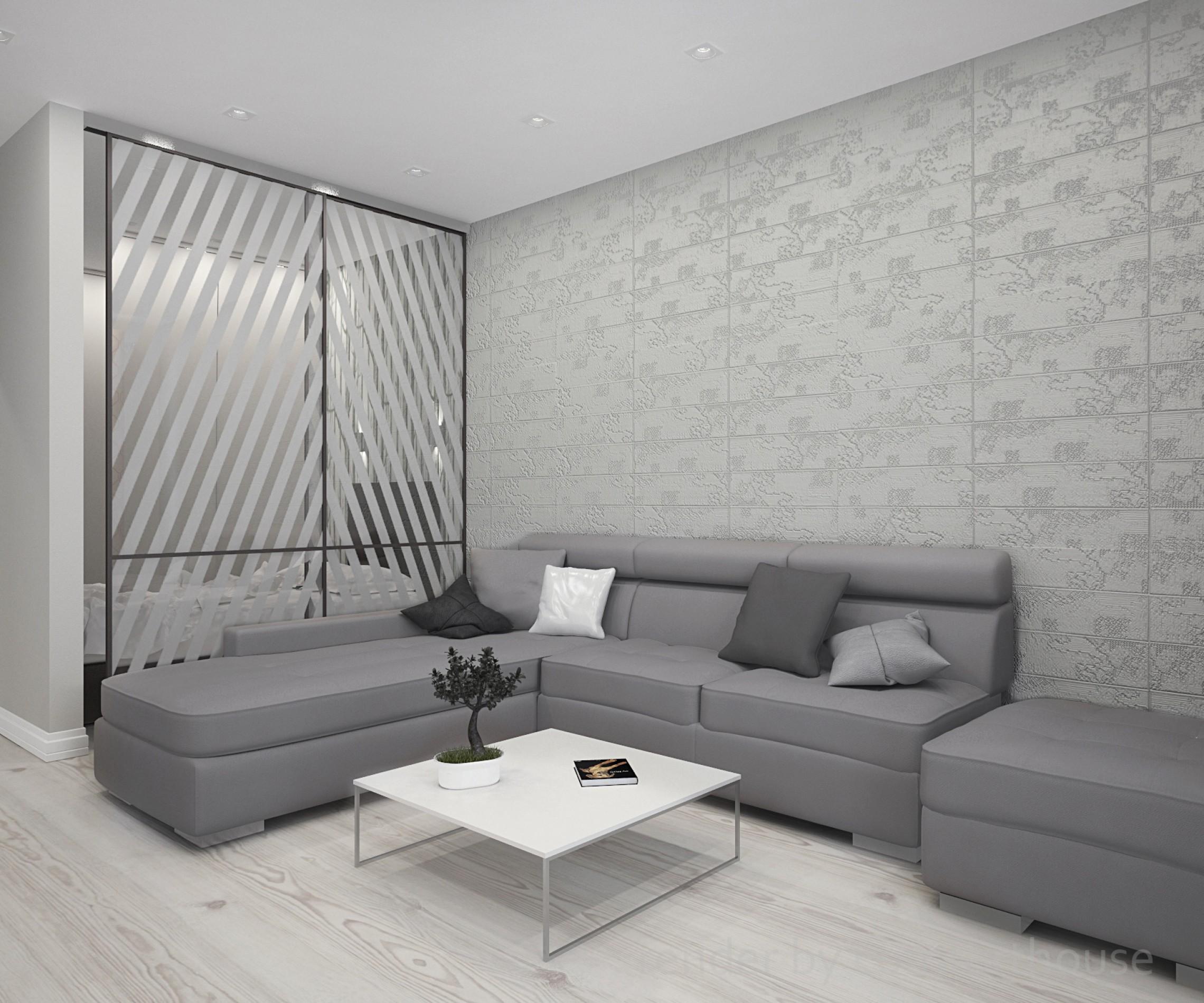 white and orange interior living room