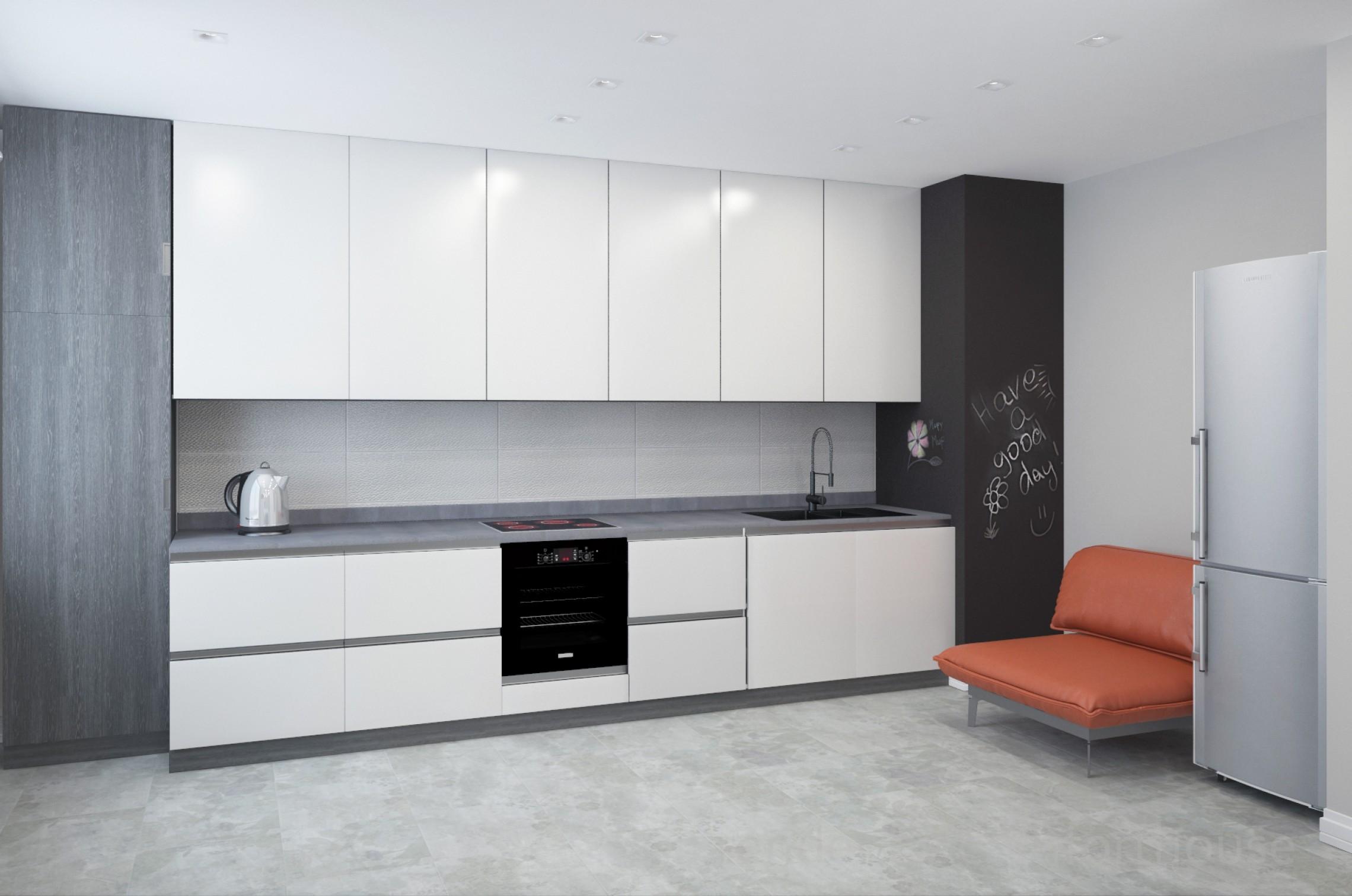 white and orange interior kitchen