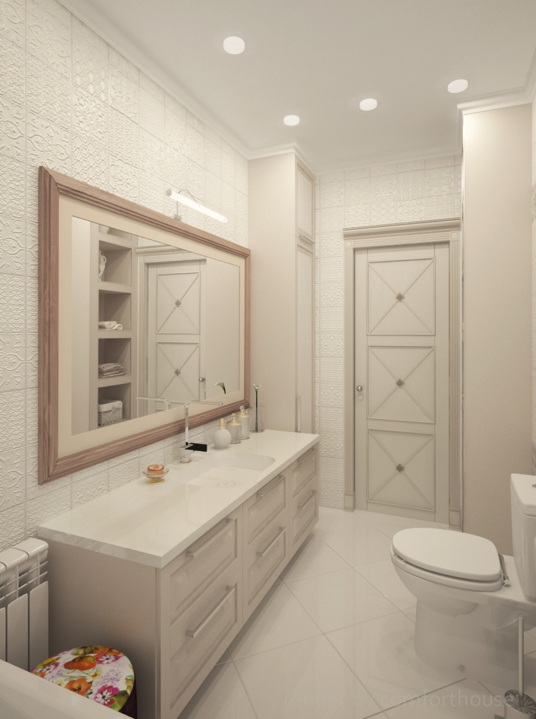 white tiles bathroom